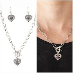 SAY NO AMOUR SILVER NECKLACE/EARRING SET